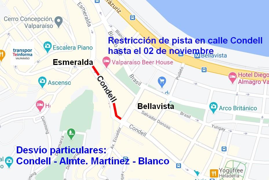 Trabajos obligan el cierre de una pista de calle Condell en Valparaíso