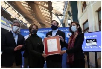 Trenes del grupo EFE obtienen certificación internacional que garantiza efectividad de sanitización
