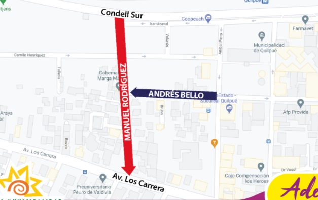 Varias calles de Quilpué cambiaron su sentido de tránsito para dar más seguridad a los conductores